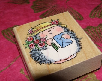 Country Lady Hedgehog wood mounted Rubber Stamp from Penny Black