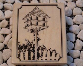 Tall Birdhouse wood mounted Rubber Stamp