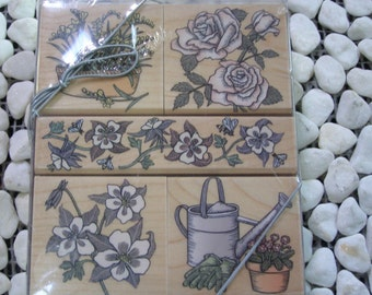 Garden Woodcuts set of 5 wood mounted Rubber Stamps from Hero Arts
