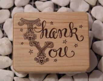 Thank You wood mounted Rubber Stamp - Bouji design