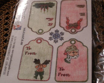 Christmas Tags II set of Gray Rubber Foam Unmounted Stamps - 5 pieces