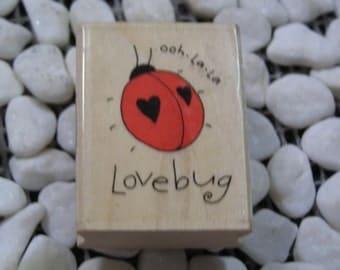 Ooh-la-la Lovebug wood mounted Rubber Stamp