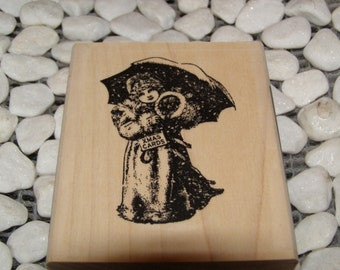 Umbrella Girl wood mounted Christmas Rubber Stamp from Alpha Stamps