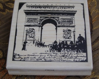 Visit to Paris - Champs Elysee wood mounted Rubber Stamp