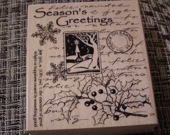 Season's Greetings Collage wood mounted Rubber Stamp