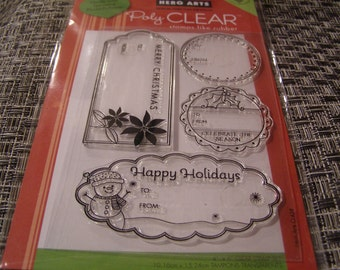 Happy Holiday Tags Christmas set of Clear Unmounted Stamps - 4 pieces