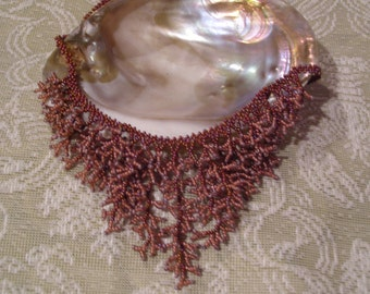 Seashell Treasures Elegant Hand Beaded Coral Design Necklace