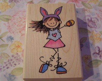 Bonny Lass wood mounted Rubber Stamp from Penny Black