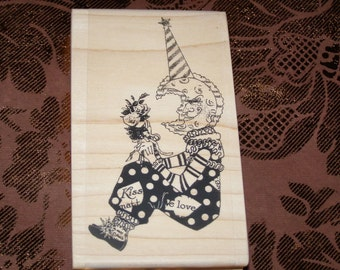 Lovesick Moon Altered Art Figure wood mounted Rubber Stamp