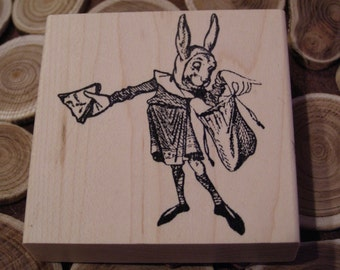 White Rabbit Looking in Messenger Bag from Alice in Wonderland wood mounted Rubber Stamp