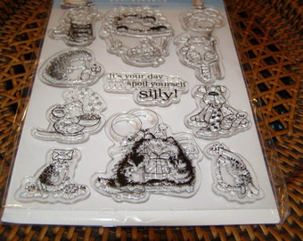 Bubbly Hedgehog set of Clear Unmounted Stamps from Penny Black - 10 pieces