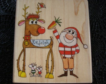 Christmas Friends Penny Black wood mounted Rubber Stamp