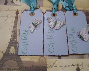 Butterfly - Ooh La La Paris Shabby Chic handmade Gift-Tag set of 6