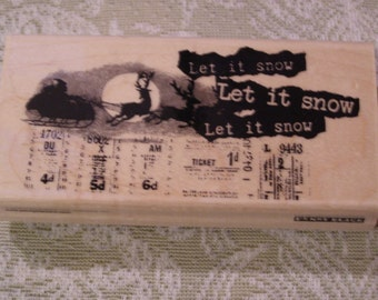 Sleigh Bells Ring Penny Black wood mounted Rubber Stamp