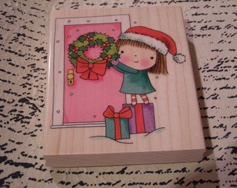 Welcome to Mimi's Christmas Penny Black wood mounted Rubber Stamp