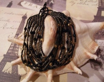 Paris at Night Hand Beaded OOAK Multi 12-Strand Bracelet