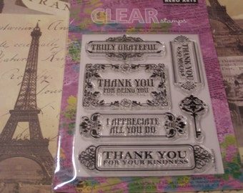 Hero Arts Truly Grateful Clear Unmounted Stamps - 6 pieces