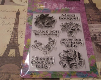 Hero Arts Merci Bouquet Clear Unmounted Stamps - 8 pieces