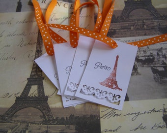 Paris Effiel Tower - Fleur de Lis accent French Shabby Chic Set of 6 Handmade Gift Tags