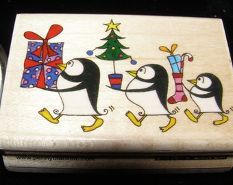 Antarcticans Penguins wood mounted Rubber Stamp from Penny Black