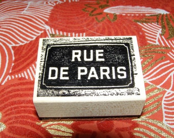 Rue de Paris French Shabby Chic wood mounted Rubber Stamp
