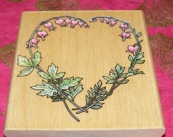 Bleeding Heart Floral Wreath wood mounted Rubber Stamp
