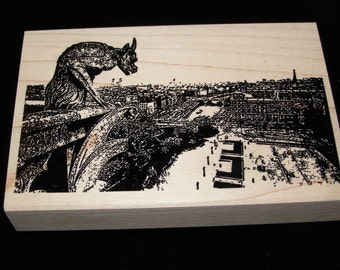 Notre Dame Gargoyle in Paris  wood mounted Rubber Stamp