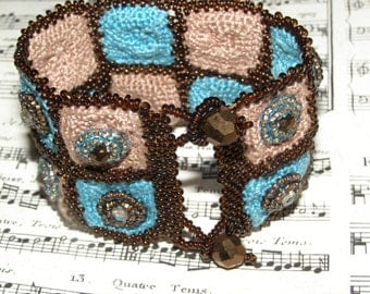 Rodeo Gal - OOAK Beaded and Crocheted Bracelet Cuff