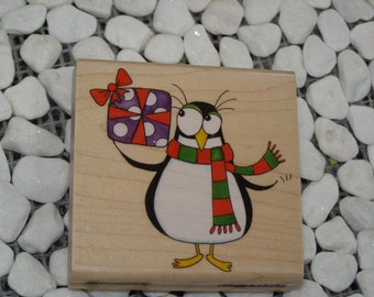 Coolest Thanks Penguin wood mounted Penny Black Rubber Stamp