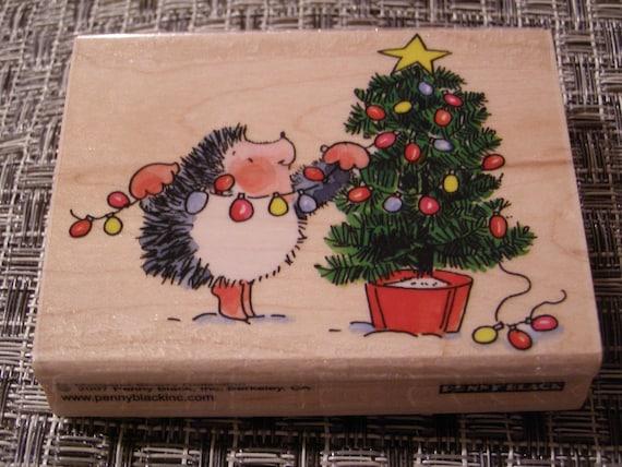 Lighting Up Hedgehog wood mounted Penny Black Rubber Stamp