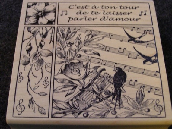 French Songbird Collage wood mounted Rubber Stamp