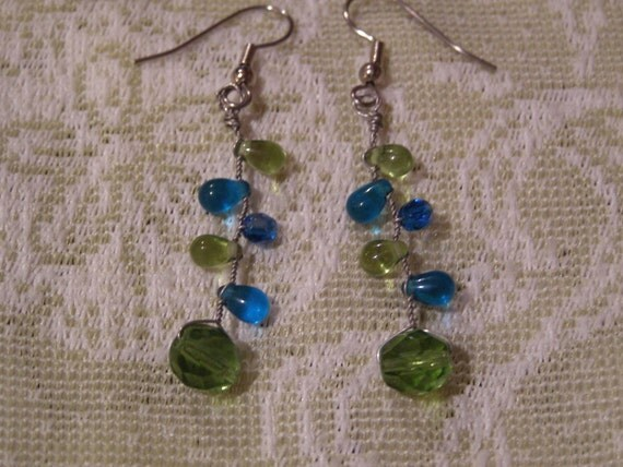 Lucky Shamrocks Handmade Crystal and Glass French Wire Earrings OOAK