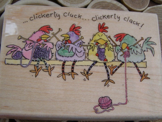 Spinning a Yarn Chickens Penny Black wood mounted Rubber Stamp
