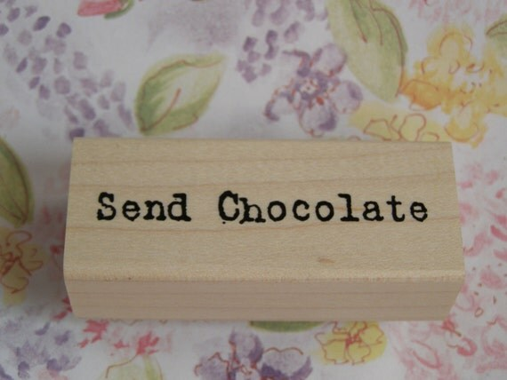 Send Chocolate wood mounted Rubber Stamp