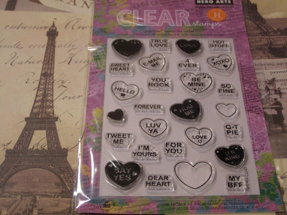 Hero Arts Sweet Hearts Clear Unmounted Stamps - 27 pieces