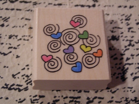 Hearts Spinning wood mounted Rubber Stamp from Penny Black