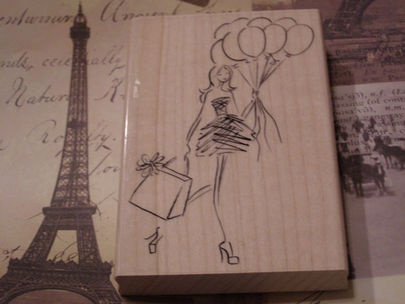 La Soiree Penny Black wood mounted Rubber Stamp