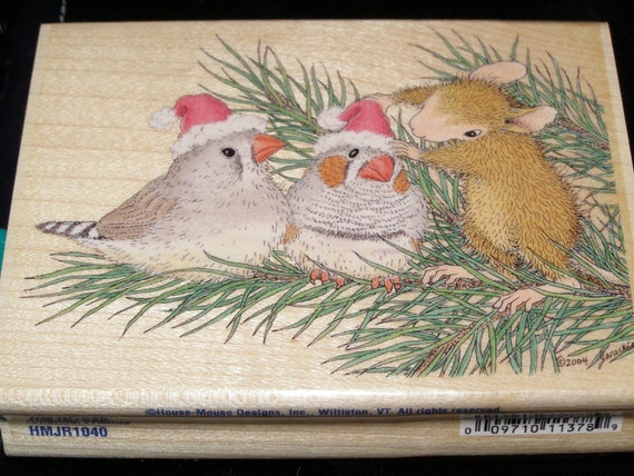 Santa Birdies Christmas House Mouse Designs wood mounted Rubber Stamp