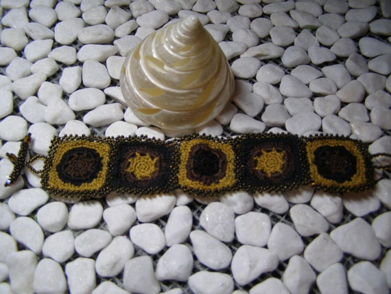 Cafe Au Lait - Black, Brown, Mustard Colored Beaded and Crocheted OOAK Bracelet Cuff