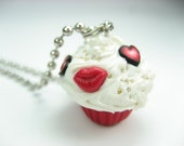 Mini Love and Kisses Cupcake Pendant - food jewelry , food necklace