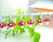 Cute Red Whimsical Mushroom Stitch Markers - Set of 6 - knit knitting polymer clay charms