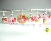 Strawberry Sweets Stitch Markers (Set of 6) knitting stitch markers miniature food strawberry charm cupcake donut knitters gifts pink cake