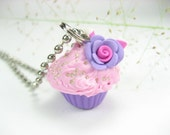 Mini Purple and Pink Rose Cupcake Necklace - Food jewelry , food necklace