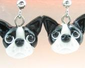 Cute Boston Terrier Earrings - dog jewelry, Boston terrier jewelry, gift, dog lover, dog earrings, Boston terrier gift, charm, polymer clay