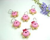 Pink Kawaii Donut Stitch Markers (set of 6)