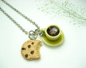 Yellow Coffee Cup and Bitten Cookie Necklace - food jewelry , food necklace