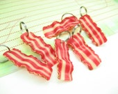 Bacon Strips Stitch Markers (set of 6) food knit knitting stitch markers polymer clay bacon charms