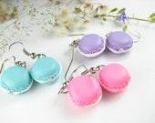 Cute French Macaron Earrings (3 pairs) Food Jewelry