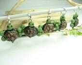 Black Green Turtle Stitch Marker (Set of 5)