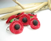 Red Poppies Stitch Marker (Set of 6) flower stitch markers knitting